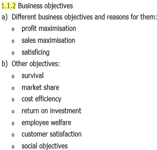Business Objectives and Pricing Decisions, figure 1
